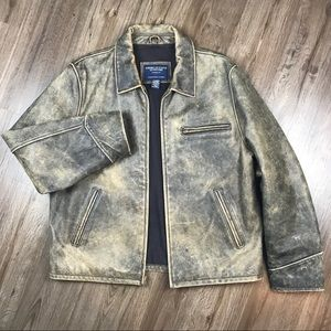 AE Outfitters Distressed Leather Bomber Jacket • L